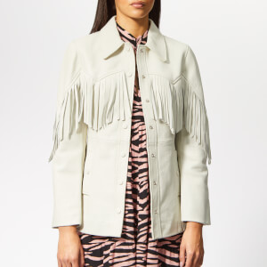 Ganni Women's Angela Leather Jacket - Egret