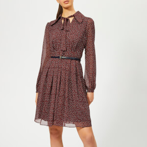 MICHAEL MICHAEL KORS Women's Vine Print Dress with Belt - True Navy/Bright Terra C