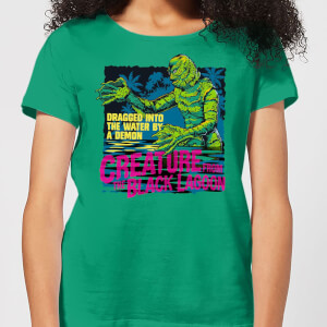 Universal Monsters Creature From The Black Lagoon Retro Women's T-Shirt - Kelly Green