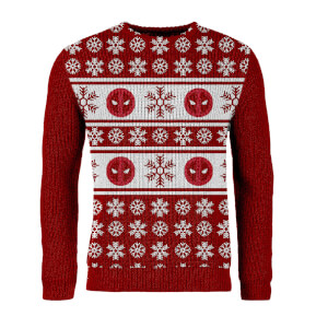 Zavvi Exclusive Deadpool Knitted Christmas Jumper - Red