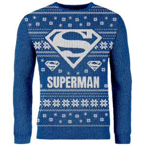 Zavvi Exclusive Superman Knitted Christmas Jumper - Blue