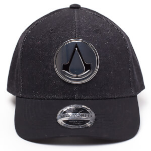 Assassin's Creed Metal Crest Denim Curved Bill Cap - Black