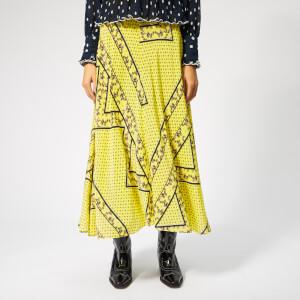 Ganni Women's Hemlock Silk Skirt - Minion Yellow