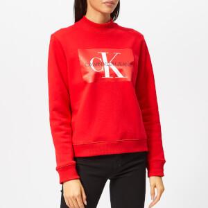 Calvin Klein Jeans Women's Monogram Satin Box Sweatshirt - Racing Red