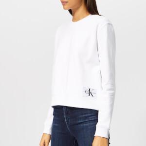 Calvin Klein Jeans Women's Boxy Monogram Badge Sweatshirt - White