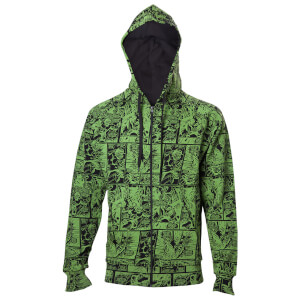 Marvel Men's Hulk Comic Book Pattern Hoody - Green