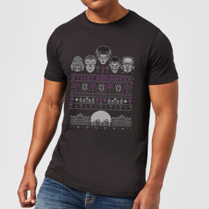 Camiseta Navideña Universal Monsters I Prefer Halloween -Hombre - Negro