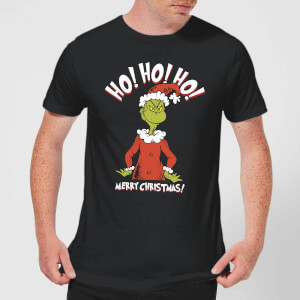 The Grinch Ho Ho Ho Smile Men's Christmas T-Shirt - Black