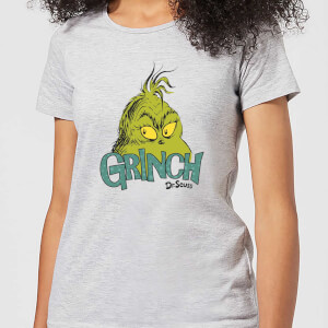 The Grinch Face Women's Christmas T-Shirt - Grey