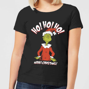 The Grinch Ho Ho Ho Smile Women's Christmas T-Shirt - Black