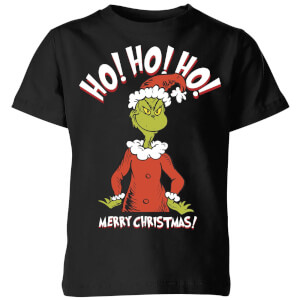 The Grinch Ho Ho Ho Smile Kids Christmas T-Shirt - Black
