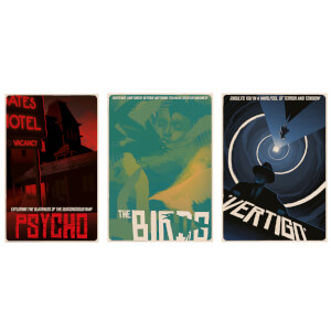 Alfred Hitchcock Classic Illustrative Art Prints (Set of 3)