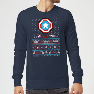 Marvel Avengers Captain America Pixel Art Christmas Sweatshirt - Navy