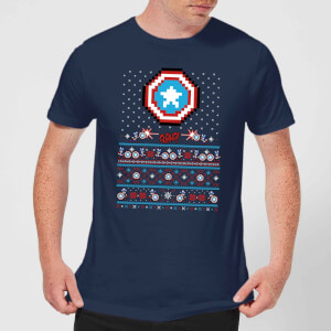 Marvel Avengers Captain America Pixel Art Men's Christmas T-Shirt - Navy