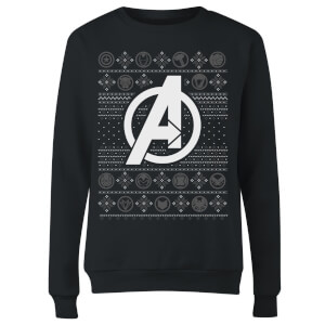 Marvel Avengers Logo Women's Christmas Sweatshirt - Black