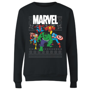 Marvel Avengers Group Women's Christmas Sweater - Black