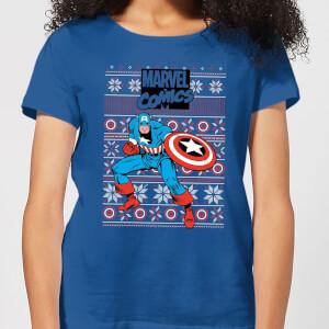 Marvel Avengers Captain America Women's Christmas T-Shirt - Royal Blue