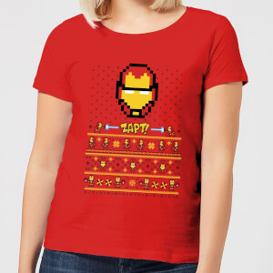 T-Shirt de Noël Femme Marvel Avengers Iron Man Pixel Art - Rouge