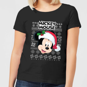 Disney Classic Mickey Mouse Women's Christmas T-Shirt - Black