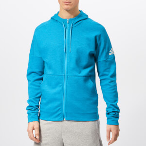 adidas Men's ID Stadium Full Zip Hoody - Shock Cyan
