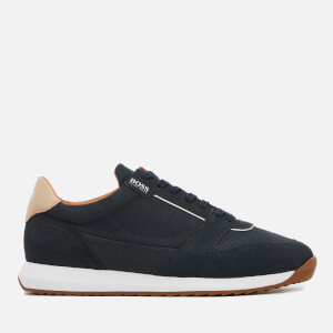 BOSS Men's Sonic Nubuck Runner Style Trainers - Dark Blue