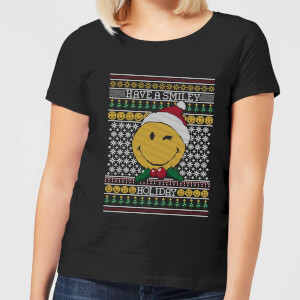 T-Shirt Smiley World Have A Smiley Holiday Christmas - Nero - Donna