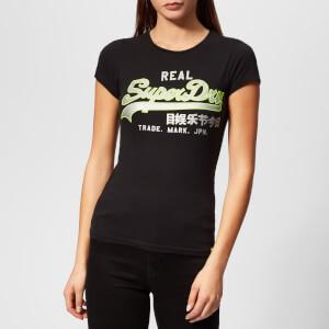 Superdry Women's Vintage Logo Neon Entry T-Shirt - Black