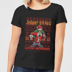 Johnny Bravo Johnny Bravo Pattern Women's Christmas T-Shirt - Black