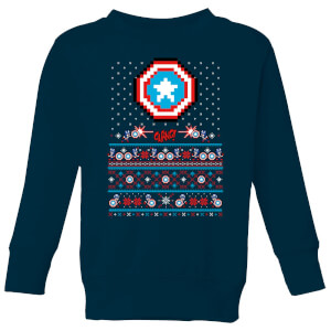 Marvel Avengers Captain America Pixel Art Kids Christmas Sweatshirt - Navy