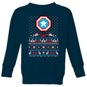 Pull de Noël Homme Marvel Avengers Captain America Pixel Art - Bleu Marine