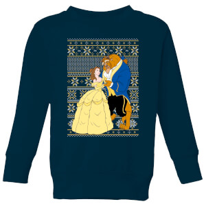Disney Classic Beauty and The Beast Pattern Kids Christmas Sweater - Navy