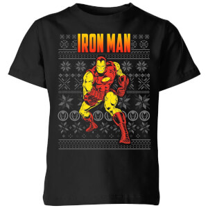 T-Shirt Marvel Avengers Classic Iron Man Kids Christmas - Nero
