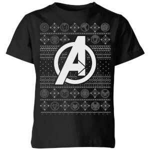 Marvel Avengers Logo Kids Christmas T-Shirt - Black