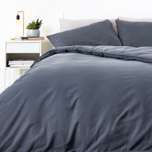 in homeware Washed Cotton Duvet Set - Dark Grey
