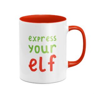 Express Your Elf Mug - White/Red