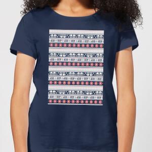 Star Wars AT-AT Pattern Women's Christmas T-Shirt - Navy