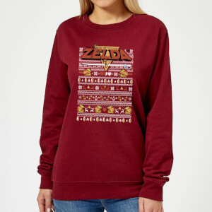 Nintendo Legend Of Zelda Pattern Women's Christmas Sweatshirt - Burgundy