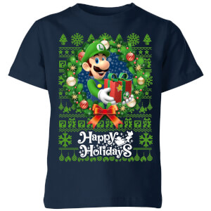 Nintendo Super Mario Happy Holidays Luigi Kid's Christmas T-Shirt - Navy