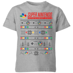 Nintendo SNES Pattern Kid's Christmas T-Shirt - Grey