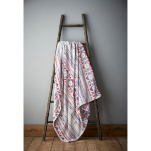 Catherine Lansfield Brushed Printed Knit Throw - Natural