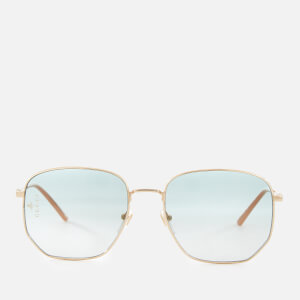 Gucci Women's Metal Square Frame Sunglasses - Gold/Green