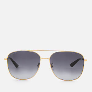 Gucci Aviator Metal Frame Sunglasses - Gold/Grey