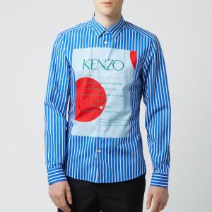 KENZO Men's Front Logo Stripe Shirt - Cobalt
