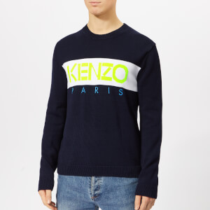 KENZO Men's Block Logo Knit Jumper - Midnight Blue
