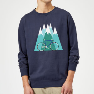 Bike and Mountains Christmas Sweatshirt - Navy