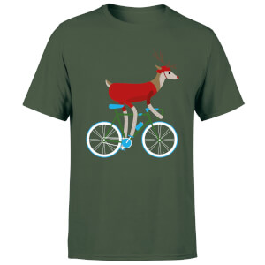 Biking Reindeer Men's Christmas T-Shirt - Forest Green