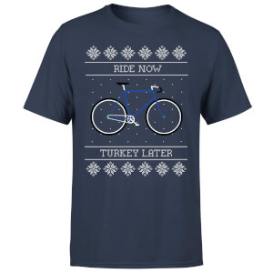 Ride Now, Turkey Later Men's Christmas T-Shirt - Navy