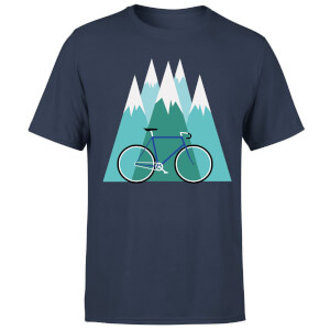 Bike And Mountains Men's Christmas T-Shirt - Navy