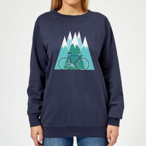 Bike and Mountains Women's Christmas Sweatshirt - Navy