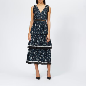 Self-Portrait Women's Tiered Star Satin Printed Midi Dress - Navy